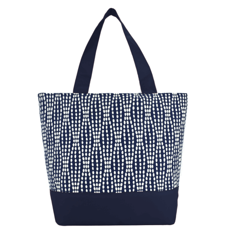 Navy Wavy Dots Essential Tote Bag by Tutenago - The perfect women's oversized tote bag for work, beach, shopping or an everyday bag.