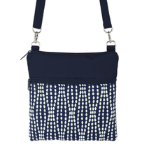 Load image into Gallery viewer, Navy Wavy Dots with Navy Nylon Mini Square Crossbody Bag by Tutenago