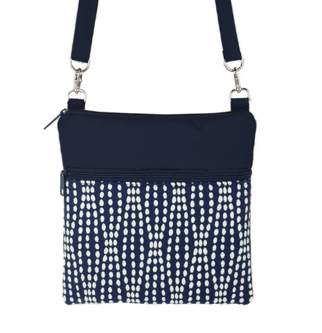 Navy Wavy Dots with Navy Nylon Mini Square Crossbody Bag by Tutenago