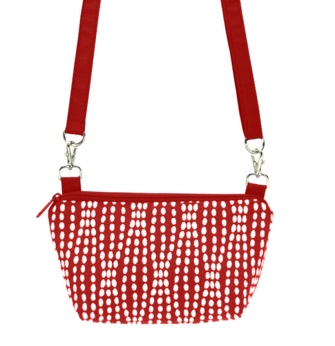 Red Wavy Dots with Red Nylon Traveler Bum Bag and Small Crossbody Purse by Tutenago