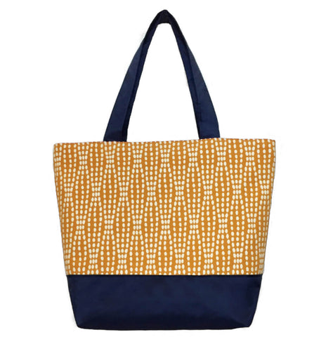 Wavy Dots in Orange with Waterproof Navy nylon Essential Tote Bag for Women