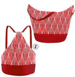 Red Wavy Dots with Red Nylon Women's Convertible Hobo bag by Tutenago