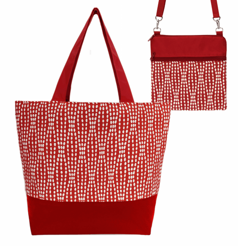 Wavy Dots in Red Essential Tote Bag Set by Tutenago - The perfect women's oversized tote bag for work, beach, shopping or an everyday bag.