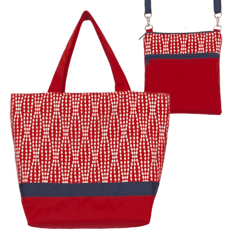 Wavy Dots in Red Essential Tote Bag Set with Navy Ribbon by Tutenago
