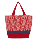 Wavy Dots in Red Essential Tote with Navy Ribbon by Tutenago - The perfect women's oversized tote bag for work, beach, shopping or an everyday bag.