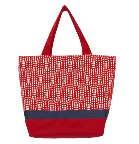 cdcf8d280df2 Wavy Dots in Red Essential Tote with Navy Ribbon by Tutenago - The perfect  women s oversized