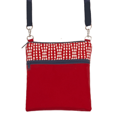 Wavy Dots in Red Mini Square Crossbody with Navy Zipper by Tutenago