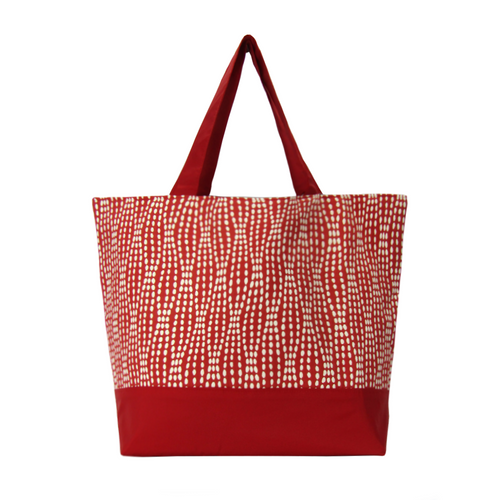 Red Wavy Dots with Red Waterproof Nylon Ready-To-Ship ssential Tote Bag by Tutenago - The perfect women's oversized tote bag for work, beach, shopping or an everyday bag.