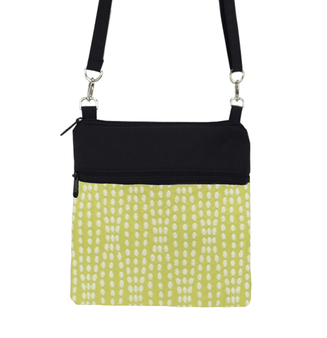 Yellow Wavy Dots with Black Nylon Mini Square Crossbody Bag by Tutenago