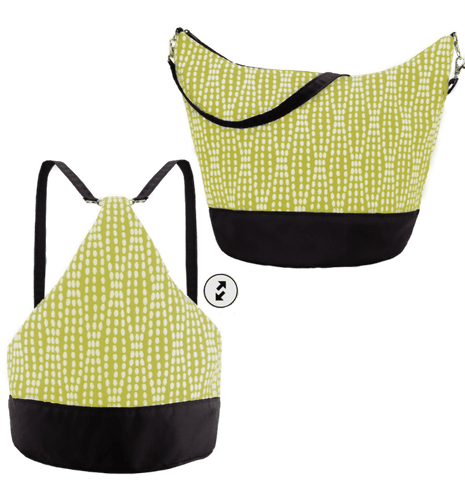 Yellow Wavy Dots with Black Nylon Women's Convertible Hobo bag by Tutenago