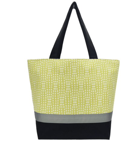 Yellow Wavy Dots Essential Tote Bag with Grey Ribbon and Black Nylon by Tutenago - The perfect women's oversized tote bag for work, beach, shopping or an everyday bag.