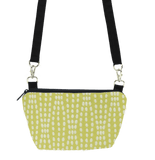 Yellow Wavy Dots with Black Nylon Traveler Bum Bag and Small Crossbody Purse by Tutenago