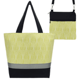 Yellow Wavy Dots Essential Tote Bag Set accented with Black Nylon by Tutenago