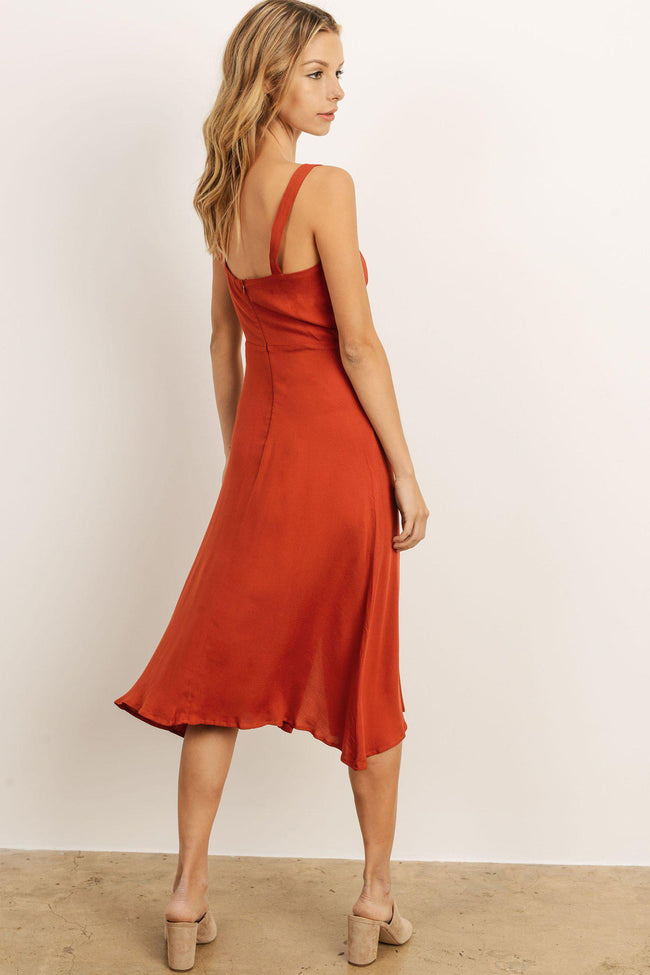 Button Front Dress Rust
