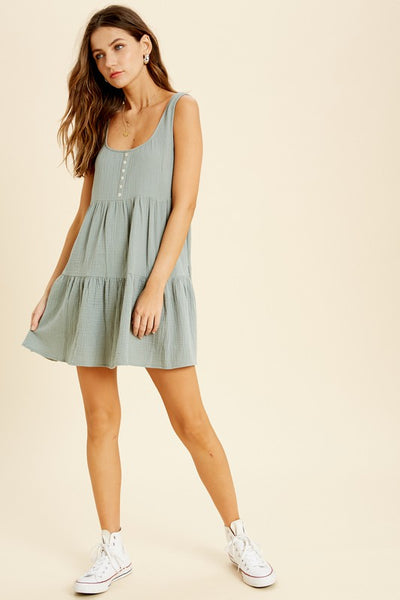 Sage Babydoll Dress