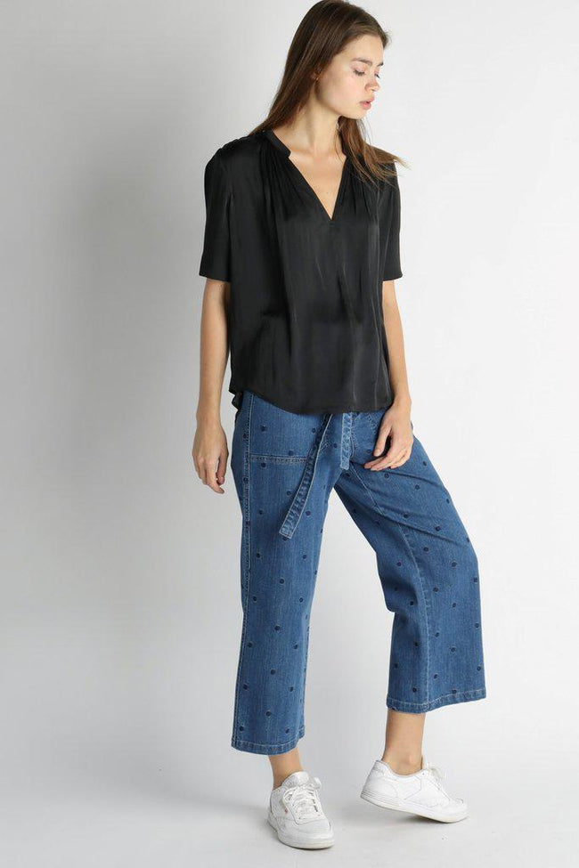 Black Blouse with Half Sleeve with Tuck Detail