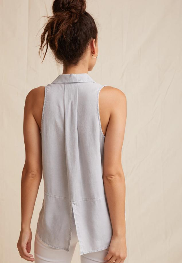 Sleeveless Split Back Top - Foggy Sky