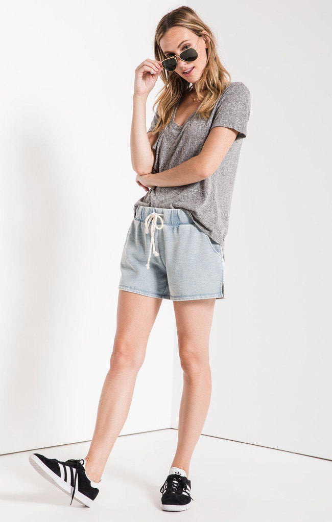 The Knit Denim Short Dusty Blue