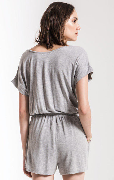Blaire Sleek Jersey Romper Heather Grey
