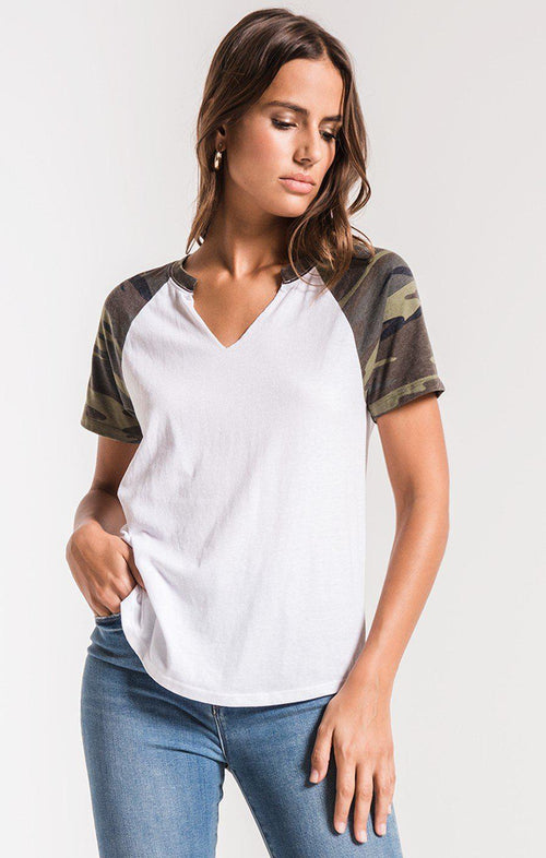 Camo Short Sleeve Baseball Tee