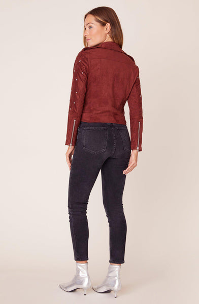 Love Walks In Cherrywood Faux Suede Moto Jacket