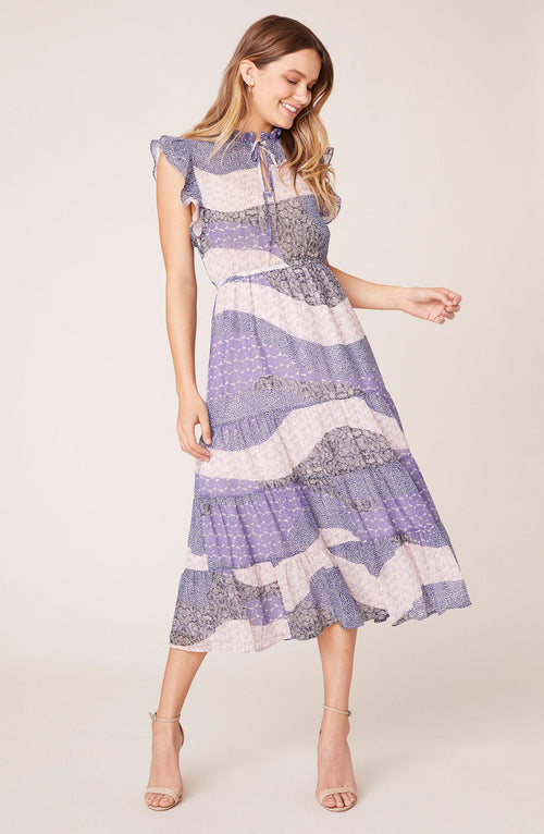 All Mixed Up Midi Dress Steel Lavender