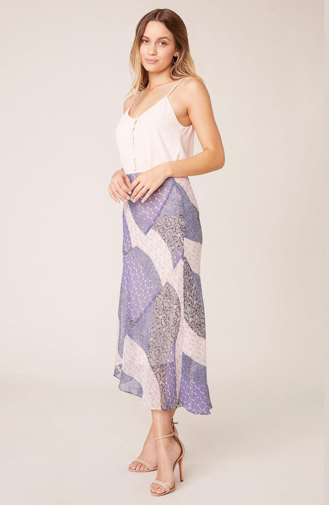 Patch Me In Midi Skirt Steel Lavender
