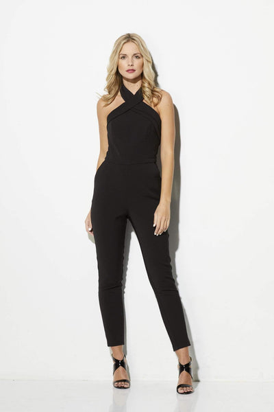 Adelyn Rae - Black Cross Neck Jumpsuit - front