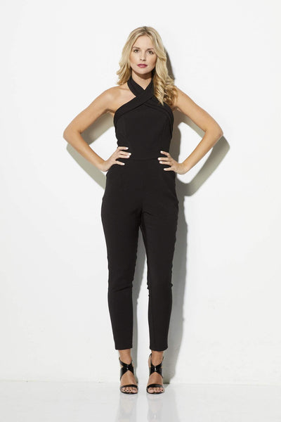 Black Cross Neck Jumpsuit