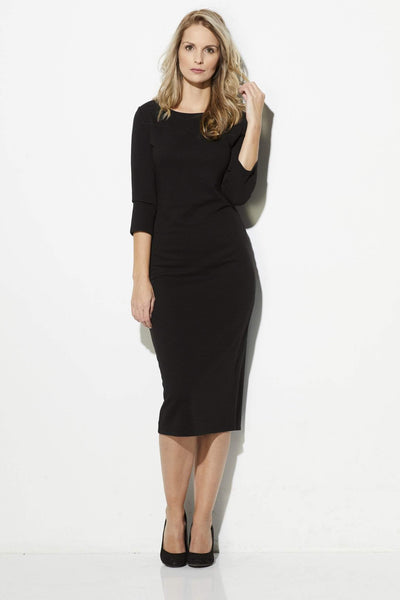 BB Dakota - Black 3/4 Sleeve Midi Dress - front