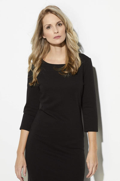 Black 3/4 Sleeve Midi Dress