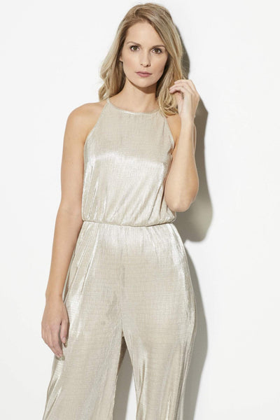 19 Cooper = Champagne Culotte Jumpsuit = Front