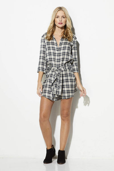 BB Dakota - Plaid Tie Waist Dress - front