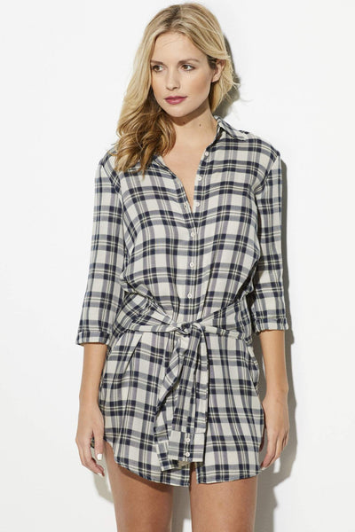 Plaid Tie Waist Dress