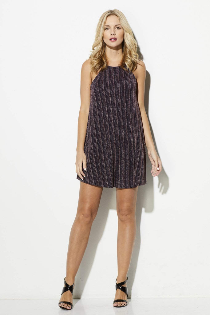 Everly = Navy and Rose Gold High Neck Dress = Front