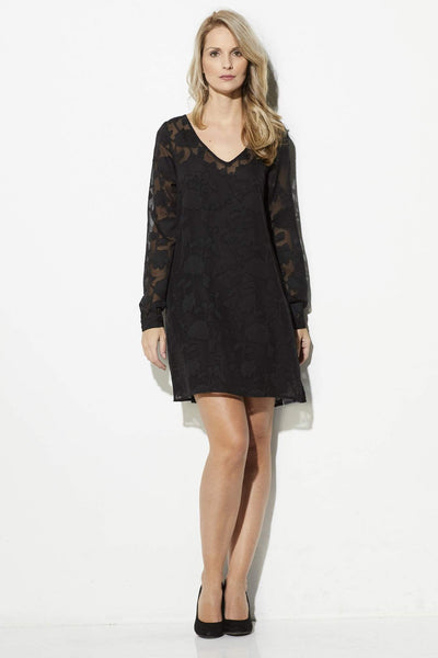 Jack - Black Lace Overlay Dress - front