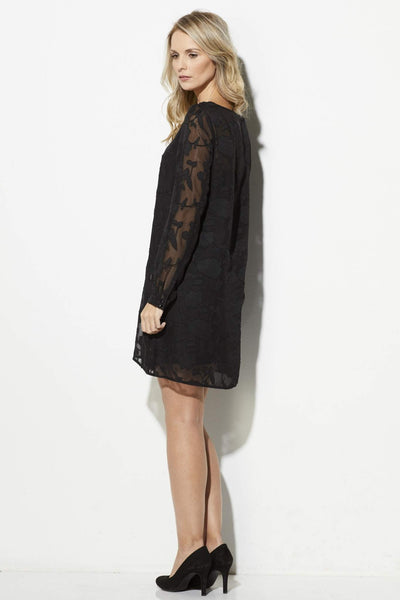 Jack - Black Lace Overlay Dress - side