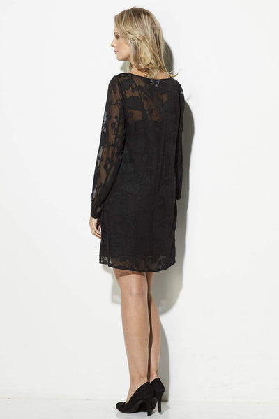 Jack - Black Lace Overlay Dress - rear