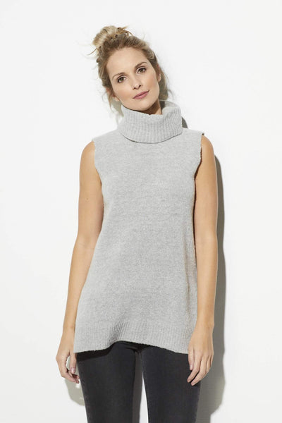 Gray Roll Neck Sleeveless Sweater