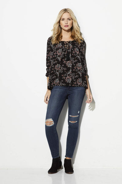 Others Follow - Black Floral Peasant Top - front