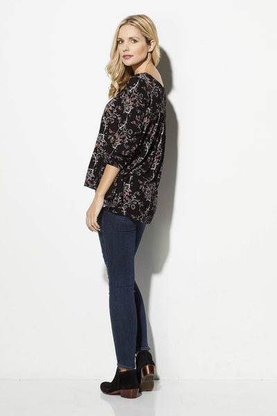Others Follow - Black Floral Peasant Top - side