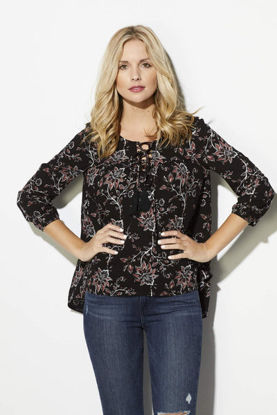 Black Floral Peasant Top