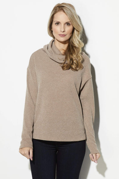 Everly - Taupe Turtleneck Sweater - front