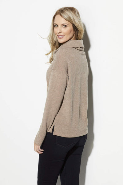 Everly - Taupe Turtleneck Sweater - side
