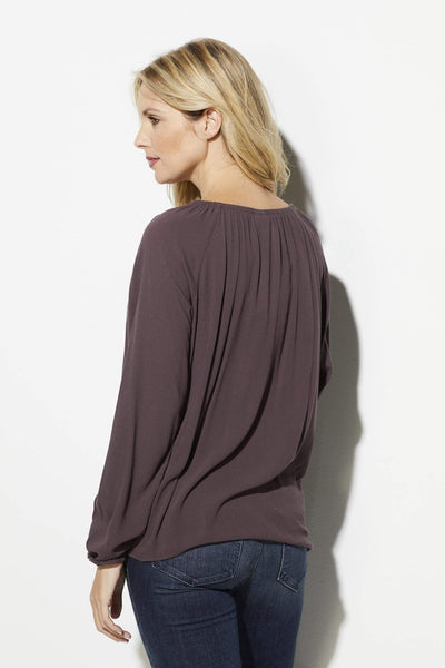 Others Follow - Purple Peasant Sleeve Blouse - rear