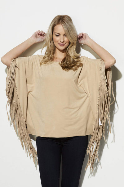 On the Road - Camel Fringe Poncho - front