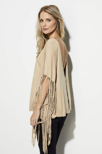 On the Road - Camel Fringe Poncho - side, rear