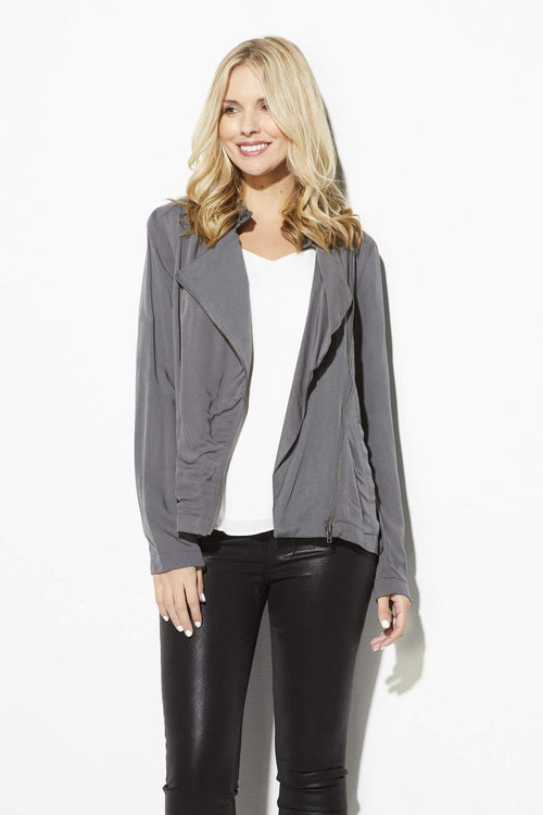 Jack - Asymmetrical Zipper Charcoal Jacket - front