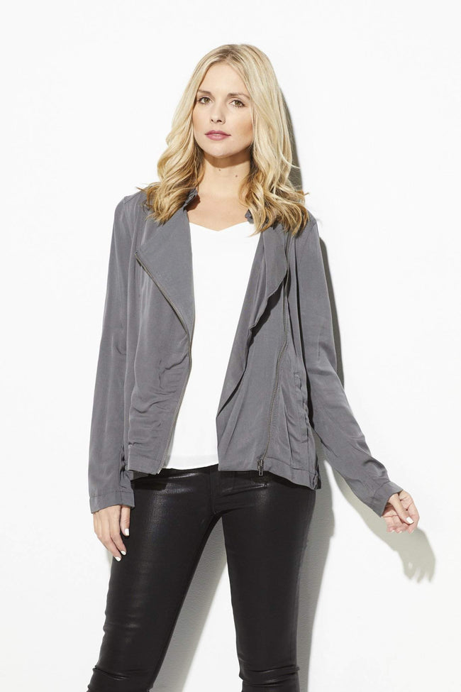 Asymmetrical Zipper Charcoal Jacket