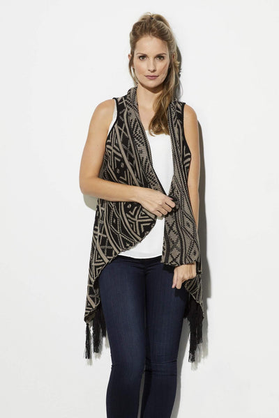 Jack - Black and Taupe Print Fringe Vest